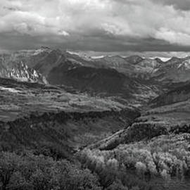 Uncompahgre Sunset Pano BW by Norma Brandsberg