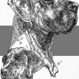 Uncropped Great Dane and Pup by Barbara Keith