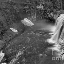 Upper Mesa Falls Landscape Black And White by Adam Jewell
