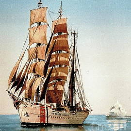 Us Coastguard Tall Ship by Val Byrne