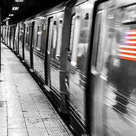 US flag and New York subway station by Robert Pastryk