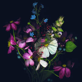 Variety Of Flowers Against Black by John Grant