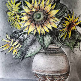 Vase with Five Sunflowers for Michele by Jose A Gonzalez Jr