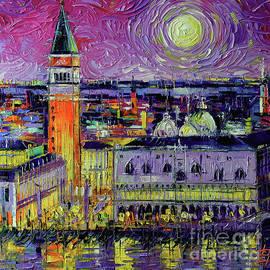 Venice by Moonlight Palette Knife Oil Painting Mona Edulesco by Mona Edulesco