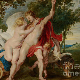 Venus Trying to Restrain Adonis from Departing for the Hunt by Rubens