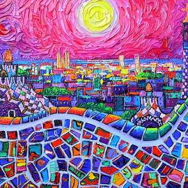 VIBRANT BARCELONA NIGHT VIEW FROM PARK GUELL modern impressionism knife painting Ana Maria Edulescu by Ana Maria Edulescu
