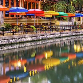 Vibrant Panorama Of The San Antonio Texas Riverwalk by Gregory Ballos