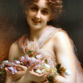 Victorian Lady With Flowers  by Vintage Art Gallery