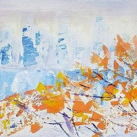View of Manhattan through autumn leaves by Olga Malamud-Pavlovich