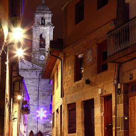 Vigo Cathedral And Christmas Star Galicia Spain by James Brunker