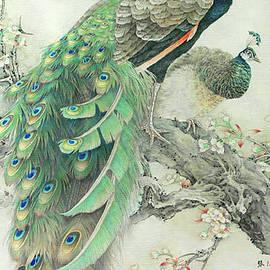 Vintage Art - Pair Of Peacocks In Tree by Audrey Jeanne Roberts