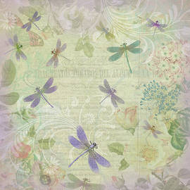 Vintage Botanical Illustrations And Dragonflies by Peggy Collins
