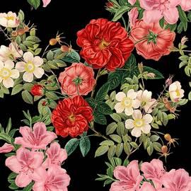 Vintage Floral Pattern On Black by Marianna Mills