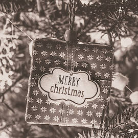 Vintage Merry Christmas Present In Tree by Wim Lanclus