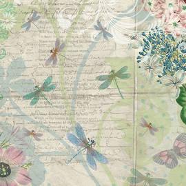 Vintage Pastel Dragonflies Botanical by Peggy Collins