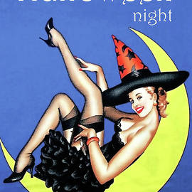 Vintage Pin-up Witch On Moon by Doc Braham