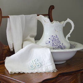 Vintage Pitcher With Basin With Monogrammed Towel by MM Anderson