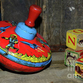 Vintage Tin Toy Spinning Top and Blocks by Paul Ward