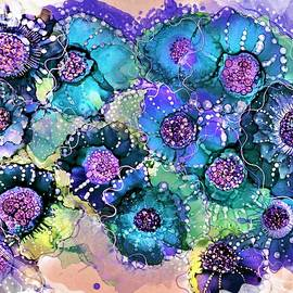 Violet Turquoise And Teal Abstract by Barbara Chichester