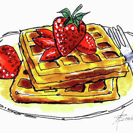 Waffles And Strawberries  by Adele Bower