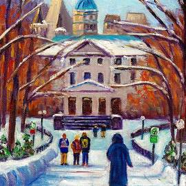 Walking To Hall Building Mcgill University Campus Montreal Street Scene Winter Painting G Venditti by Grace Venditti