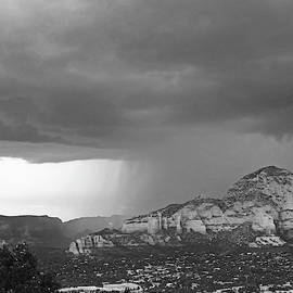 Wall Of Rain Over Sedona Az Red Rock Black And White by Toby McGuire