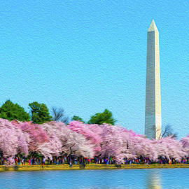 Washington Monument And Cherry Blossoms Oil Rendering by SR Green