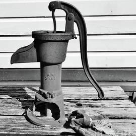 Water Hand Pump Bw by D Hackett