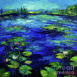 WATER LILIES STORY impressionistic impasto palette knife oil painting Mona Edulesco by Mona Edulesco