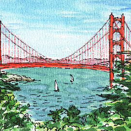 Watercolor Landscape With Golden Gate Bridge by Irina Sztukowski