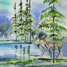 Watercolor - Moose in the Northern Woods
