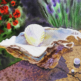 Watercolor Still Life With Shells And Pearls  by Irina Sztukowski