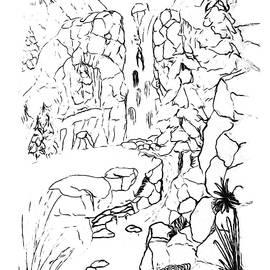 Waterfall PAINT MY SKETCH by Delynn Addams