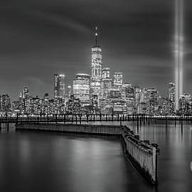 Waterfront Walkway Tribute In Light Bw by Michael Ver Sprill