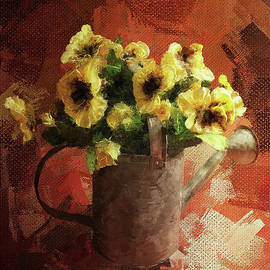 Watering Can With Pansies by Lois Bryan