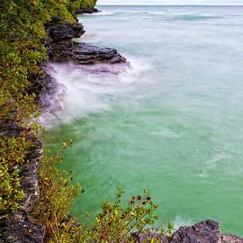 Waves Crashing at Cave Point Park Door County Wisconsin Lake Michigan Great Lakes Upper Midwest by Wayne Moran