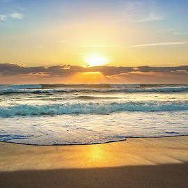 Waves Rolling in at Sunrise by Debra and Dave Vanderlaan