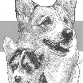 Welsh Corgi and Pup by Barbara Keith