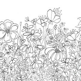 Whimsical Flower Garden, Line Art Doodles by Patricia Awapara