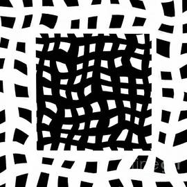 White and Black Wavy Lines Abstract by Delynn Addams for Home Decor by Delynn Addams
