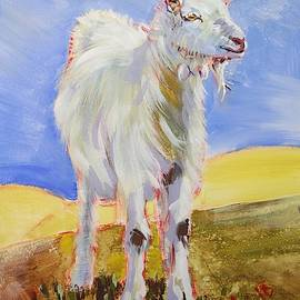 White Goat With Horns Painting by Mike Jory