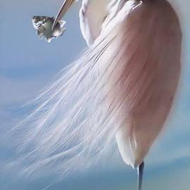 White Heron with Fish by Alina Oseeva