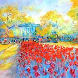 Virgil Carter - White House and Tulips No 1