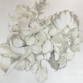 White Hydrangea Detail by Laurel Adams