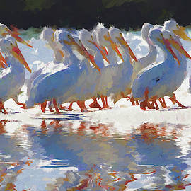 Revati's White Pelicans Abstract by Alice Gipson