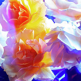 WHITE ROSES in BLUE VASE. by Alexander Vinogradov