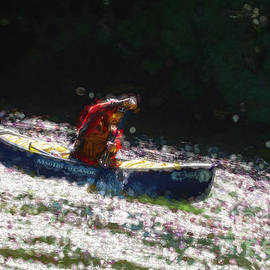 Whitewater Canoe In Fast River - Painterly by Les Palenik