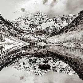 Wide Angle Maroon Bells Panoramic Landscape - Sepia by Gregory Ballos