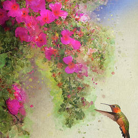 Wild Roses And Rufous Hummingbird by R christopher Vest