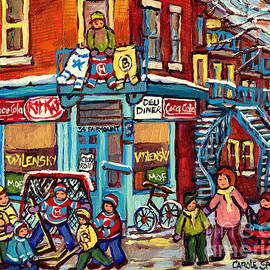 Wilensky's Winter Scenes Montreal Street Hockey Art C Spandau Quebec Snowscene Painting Canadian Art  by Carole Spandau